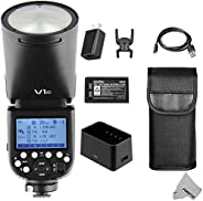 Fomito Godox V1-C 适用于佳能 2.4G TTL 锂离子圆头相机闪光灯闪光灯,76Ws GN92 1/8000 HSS,1.5 秒 回收时间,2600mAh Lithimu 电池,10 级 LED 模型灯