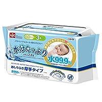 水99.9% 水分充足 湿巾 厚 60片×3包 ( 日本制造 )