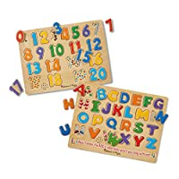 Melissa & Doug 有声拼图套组:数字和字母木制嵌板拼图