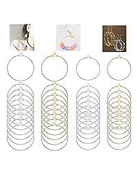 80 件圆形串珠环耳环寻找首饰制作部件 2 个尺寸(30 毫米和 40 毫米)2 种颜色(金色和银色)