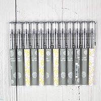 白雪文具针管型走珠笔直液式0.38mm碳素水笔学生办公考试用中性笔签字笔红蓝黑色X881黑色12支(笔杆颜色随机)