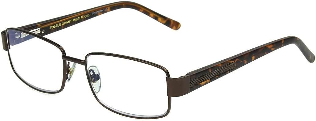 FGX International 男式 Foster Grant Wes 棕色多焦眼镜 5010361-100.COM 矩形老花镜,缎面棕色,1