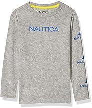Nautica 諾帝卡男童長袖徽標圖案 T 恤