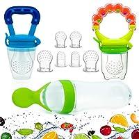 Baby Food Feeder 新鲜水果木头挤压瓶勺卫生盖新生儿牙齿奶嘴,配有舒缓网眼,超大尺寸硅胶袋,宝宝出牙