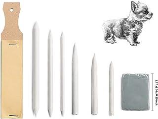 8 张纸混合树桩 Tortillions 砂纸 铅笔卷笔刀 艺术搅拌器 带橡皮擦 适用于学生素描绘图工具