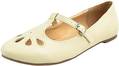 Cambridge Select 女士 T 型封闭圆头泪珠平底鞋 Nude Pu 6.5 M US
