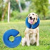 MorTime 防护充气项圈适用于狗狗和猫咪,可调节柔软宠物恢复项圈 - 不会阻挡视野 蓝色 Large-