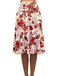 Vivicastle 女士基本款折叠 A 字中长及膝喇叭裙 - 美国制造
