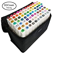 80 色图形记号笔,艺术家必备永久艺术马克笔双记号笔动画设计用于绘画上色、亮光和下衬里 白色 80 Color 80 Color marker