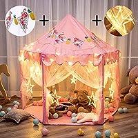 "Twinkle Star 55"" x 53"" 公主城堡游戏帐篷女生游乐室带 138 个 LED 星球灯和横幅装饰,儿童游戏室室内室外游戏(粉色)"