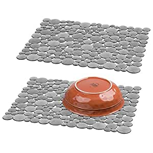 mdesign m2bubblisinkmats Pack of 2 - Large, Graphite