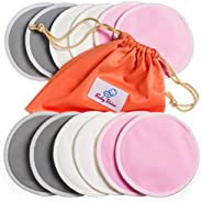 可洗哺乳垫 12 件装 | *竹制 | 洗衣和旅行包 | *喂养和睡指南 | BabyVoice *柔软可重复使用的哺乳垫 灰色 中