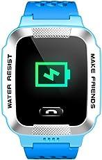 小天才电话手表Y01A 浅蓝色 儿童智能手表360度安全防护 学生定位手机 儿童电话手表 儿童手机 男孩(亚马逊自营商品, 由供应商配送)