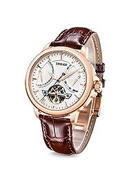 Time100 航海家系列男士手表飞轮款机械表腕表 棕色表带 W70035G.02A