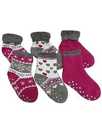 N'Ice Caps 女童和婴儿柔软毛绒内衬毛绒毛绒毛绒魔术弹力抓手袜 - 3 双装