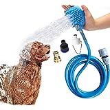 狗狗淋浴喷雾器和狗狗沐浴刷 2 合 1 *宠物洗澡工具淋浴浴浴浴浴浴缸和户外花园软管兼容,适用于狗狗猫马的清洁和按摩