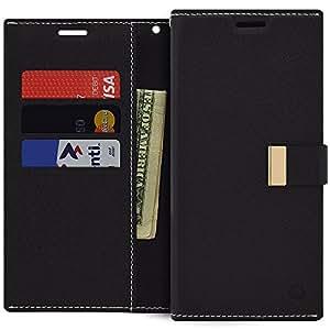 Galaxy Note 5 钱包式手机壳,纤薄 PU 皮翻盖【对开式】保护套带【卡夹和磁扣】支架和防震三星 Galaxy Note 5 * 黑色