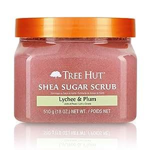 Tree Hut 乳木果糖磨砂膏 荔枝和李子味,18盎司/510克,超保湿去角质,滋养身体护理(3件装)