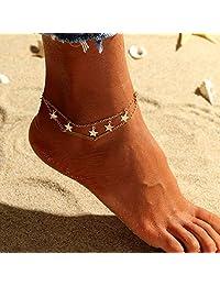 Nicute Boho 分层脚链金色星形脚踝手链夏季海滩*首饰适合女士和女孩