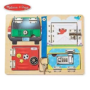Melissa & Doug 美丽莎和豆豆 益智玩具 木质门锁和门闩游戏板