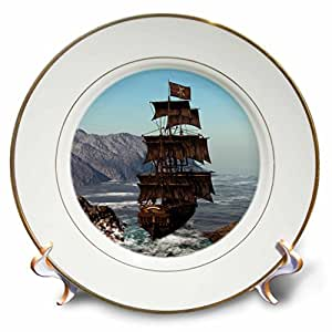 3dRose cp_172244_1 Pirate Ship Sails Trough Coastal in Strong Winds-Porcelain Plate, 8-Inch