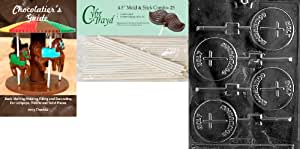 Cybrtrayd Holy Communion Lolly Chocolate Candy Mold with 25 4.5-Inch Lollipop Sticks and Chocolatier's Guide