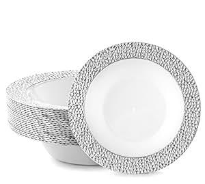 DAZZLE 塑料派对一次性瓶子 340.19 克硬质圆形婚礼汤碗 - 白色带银色边缘,20 只装 - 优雅和精致的重型派对用品盘子适合所有节日和场合