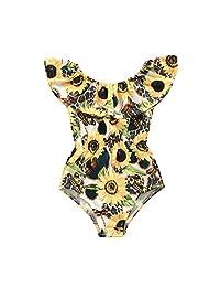 女童连体泳衣向日葵荷叶边泳装比基尼夏季泳装