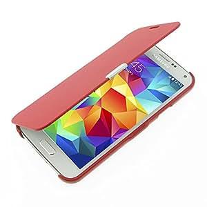 S5 手机壳,Galaxy S5 手机壳,MTRONX Window View 磁扣超对翻盖修身 PU 皮保护套适用于三星 Galaxy S5SS5CS-MG-RD 红色