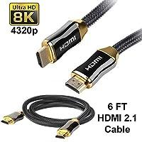 SatelliteSale 超高速 HDMI 2.1 电缆 8K 120Hz HDR 48Gbps [24K 镀金连接器 | 高级尼龙线] 增强音频回流 (EARC) & 杜比全景声 6 英尺
