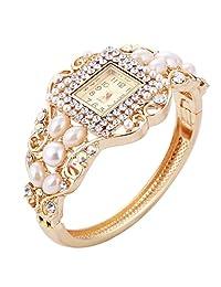 minhin *花朵手链手表适用于女式多色连衣裙 WATCHES 奢侈品珠宝