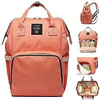 尿布袋 多功能 防水 旅行背包 尿布袋 用于婴儿护理 大容量 时尚耐用 Pink-orange