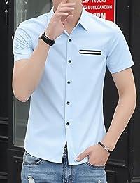 Goralon 休闲男士衬衫韩版修身白色衬衣 男士休闲衬衫青年英伦男衫夏季衬衣短袖上衣
