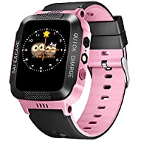 TOPCHANCES 儿童 GPS 智能手表跟踪手表带远程摄像头防水婴儿手表 SOS SIM 呼叫位置设备跟踪器 适用于儿童* 黑色+粉色