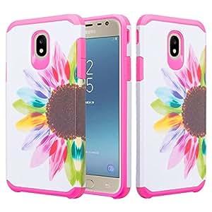 Wydan Galaxy J3 2018/J3 Star/J3 Orbit/J3 V *三代/J3 Achieve/Express Prime 3/Amp Prime 3 - 超薄防震手机壳重型保护手机壳 Colorful Sunflower