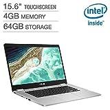 2019 *新华硕 Chromebook 15.6 英寸全高清触摸屏 1080p,Intel N4200 四核处理器 2.5GHz,4GB 内存,64GB 存储,拉丝铝底盘