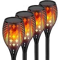teck 户外手电筒灯,星星设计,闪烁舞动火焰,防水太阳能LED景观装饰,适用于庭院泳池庭花园路径行道,4件装