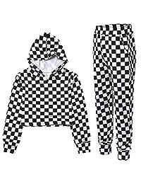 女孩运动服连帽衫上衣和慢跑裤运动裤冬季套装运动套装