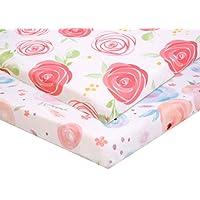Pack n Play 床套套装-2个便携迷你婴儿床床单,游戏床床垫套,超柔软材料,花朵