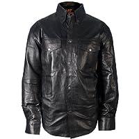 hot leathers 黑色男式皮革衬衫 黑色 XXXX-Large