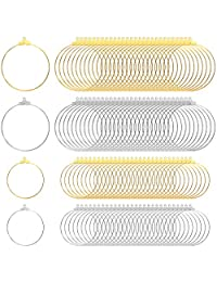 Tongcloud 120 颗圆形串珠环耳环寻找珠宝制作配件,2 种尺寸(金银,30 毫米和 40 毫米)