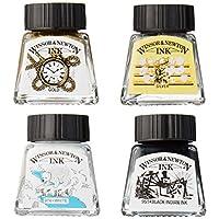 Winsor & Newton 收藏系列绘图墨水套装,黑色,白色,金属色