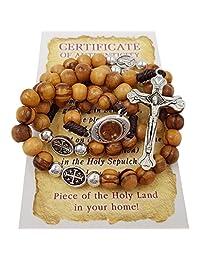 Talisman4U 橄榄木念珠天主教项链带耶路撒冷圣土和蓝色天鹅绒念珠袋