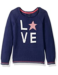 Nautica Girls' Jersey Sweater with Intarsia Artwork