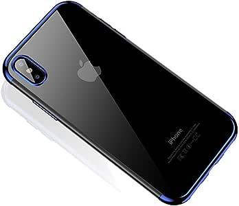 CAFELE iPhone X 软质 TPU 手机壳超薄奢华时尚透明镀层闪亮手机壳 iPhone X 混合硅胶套 蓝色