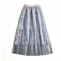 ZHILU 知路 新款夏装 韩国半身裙 重工刺绣高腰A字长裙 仙女网纱裙 均码 3色可选 (灰蓝)