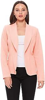 女式纯色基本款休闲修身长袖外套夹克/美国制造