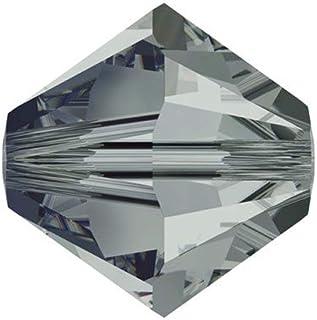 50 件正品 3 毫米施华洛世奇水晶 5328 Xillion 双锥体水晶珠用于珠宝制作(黑钻石)SWA-b321