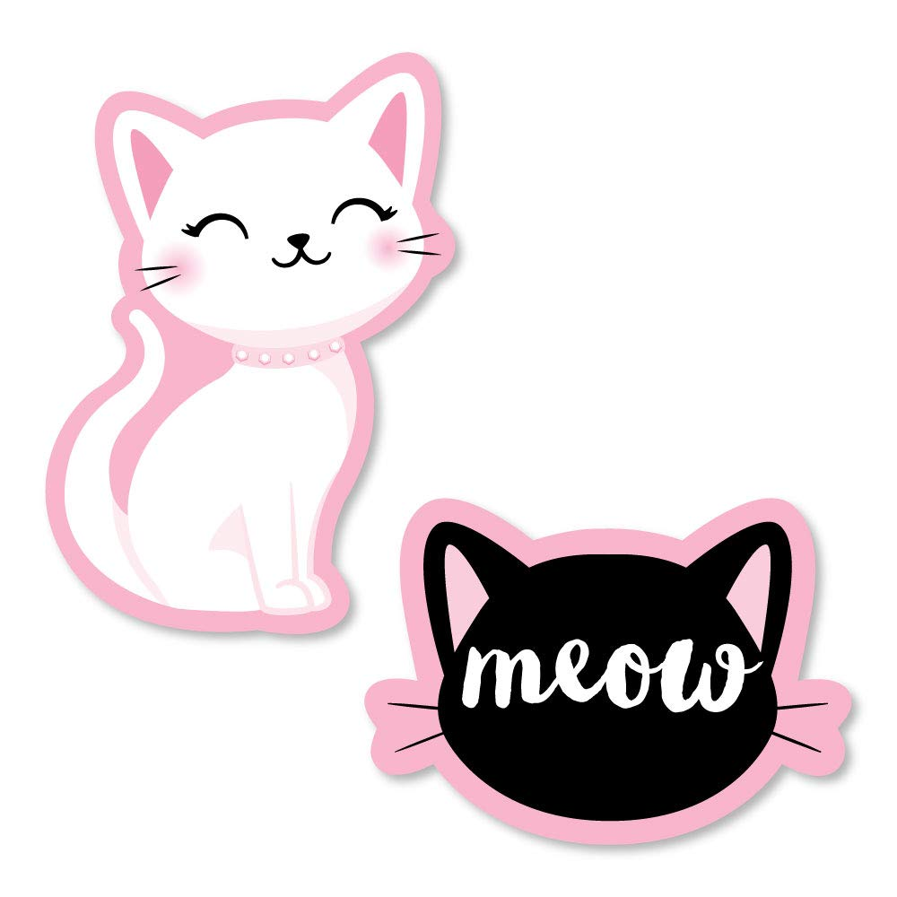 Big Dot of Happiness Purr-fect Kitty 猫 - DIY 形状猫咪 母婴派对派对派对开口 - 24 件