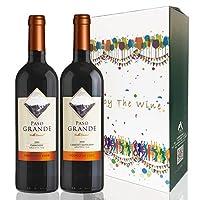 Paso Grande 佰铄 赤霞珠干红葡萄酒750ml+佳美娜干红葡萄酒750ml 双支装礼盒(智利进口红酒)